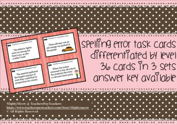 Spelling Errors Task Cards - Differentiated by Level / Visual Aid