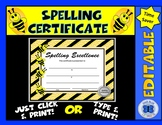 Spelling Excellence Certificate - Editable