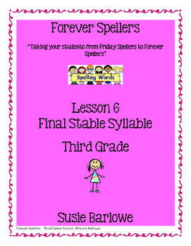 Spelling - Final Stable Syllables - 3rd Grade