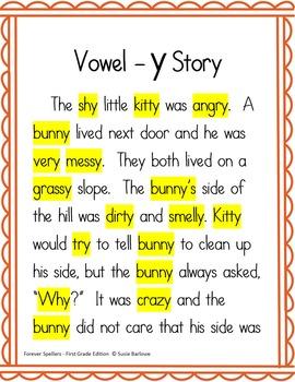Spelling - Final Vowel y - 1st Grade
