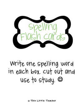 spelling flash card template free download