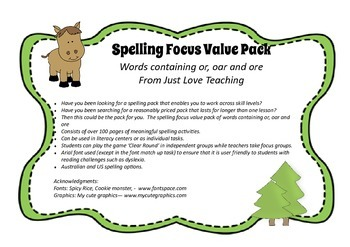 Spelling Value Pack Words Containing or, oar and ore