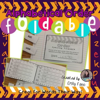 Spelling Foldable: Alphabetical Order