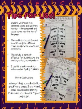 Spelling Foldable: Consonants and Vowels