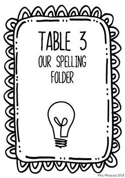 Spelling Folder Title Page