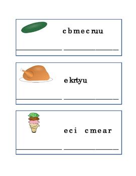 Spelling Food Word Scramble Reading Journal Writing Journal Supplement ELA 6pgs
