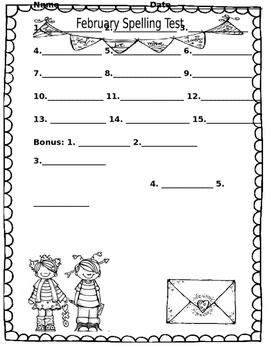 Spelling Free Test February