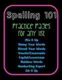 Spelling Fun 101 Practice Pages for Any List