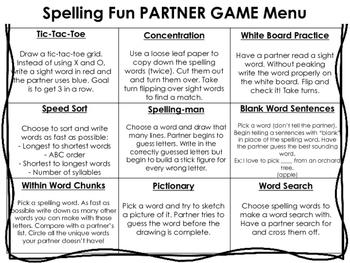 Spelling Fun Menu