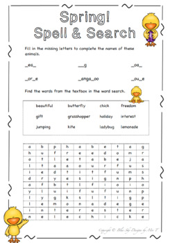 Spelling Fun! (Spring Chick Word Search)