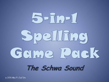 Spelling Game 5-Pack [Schwa Sound]