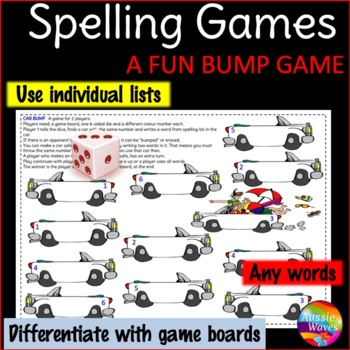 Spelling Activity BUMP GAME uses individual lists, any words & grade CAR THEME