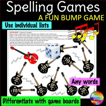 Spelling Activity BUMP GAME Use individual lists Any words & grades GUITAR THEME