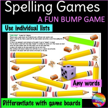 Spelling Game a BUMP GAME using individual lists *All word