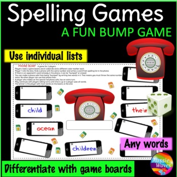 Spelling Game a BUMP GAME Use individual lists Any words & grade PHONE THEME