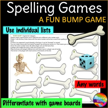 Spelling Game BUMP GAME Center Activity Uses individual lists Any words & levels