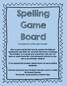 Spelling Game Board