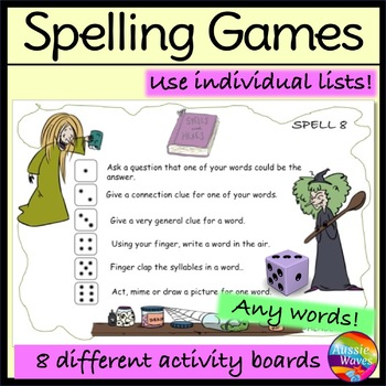 Spelling Game play using individual lists, any words & grade