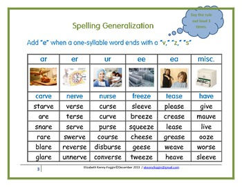 """Spelling Generalization: Add an """"e"""" when a one-syllable word ends in s, v, or z"""