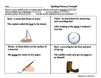 Spelling Glossary- Common Core ELA. L.2, L.4