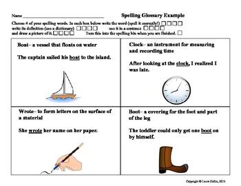 Spelling Glossary- Common Core ELA. L.2, L.4
