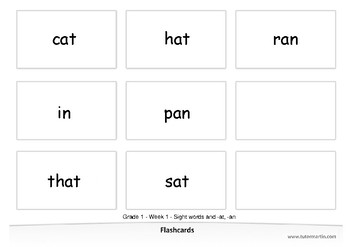 Spelling Grade 1 - Week 1 - Sight words and -at, -an (Bundle)