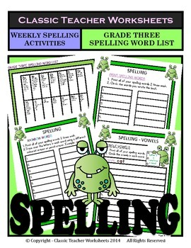 Spelling - Grade 3 (3rd Grade) - Weekly Spelling Activities for 10 or 13 Words