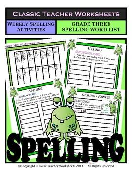 Spelling - Grade 3 (3rd Grade) - Weekly Spelling Activities for 10 or 13 Words