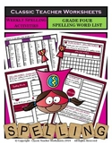 Spelling - Grade 4 (4th Grade) Weekly Spelling Activities for 5 or 8 Words