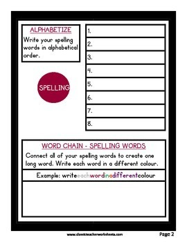 Spelling - Grade 5 (5th Grade) Weekly Spelling Activities for 5 or 8 Words