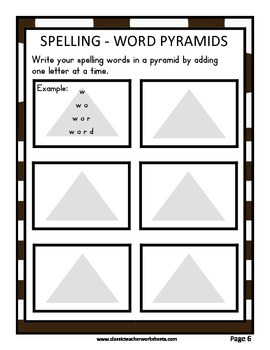 Spelling - Grade 6 (6th Grade) Weekly Spelling Activities for 10 or 13 Words