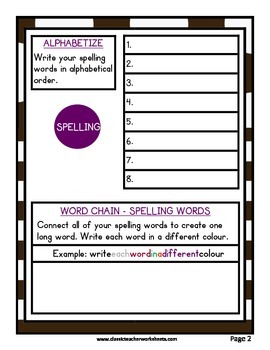 Spelling - Grade 6 (6th Grade) Weekly Spelling Activities for 5 or 8 Words
