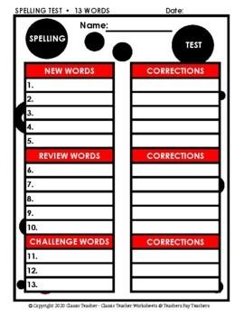 Spelling - Grade 5 (5th Grade) Spelling Word List & Spelling Test Templates