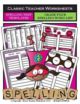 Spelling - Grade 4 (4th Grade) Spelling Word List & Spelling Test Templates