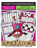 Spelling - Grade 4 (4th Grade) Spelling Word List & Spelling Test Templates