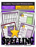Spelling - Grade 1 (1st Grade) - Spelling Word List & Spelling Test Templates