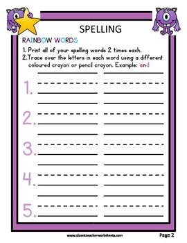 Spelling - Grade 1 (1st Grade) - Weekly Spelling Activities for 3 or 5 Words