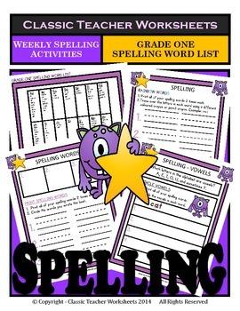 Spelling - Grade 1 (1st Grade) - Weekly Spelling Activitie
