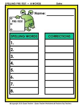Spelling - Grade 3 (3rd Grade) - Spelling Word List & Spelling Test Templates