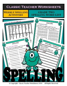 Spelling - Grade 2 (2nd Grade) - Weekly Spelling Activities for 5 or 8 Words