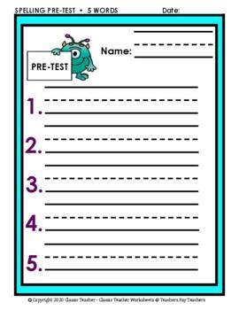 Spelling - Grade 2 (2nd Grade) - Spelling Word List & Spelling Test Templates
