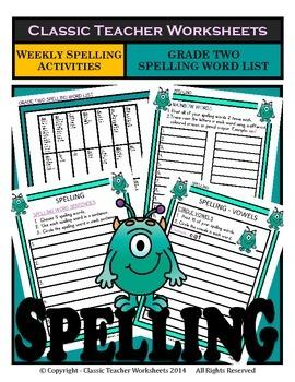 Spelling - Grade 2 (2nd Grade) - Weekly Spelling Activitie