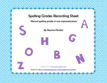 Spelling Grades Organizer