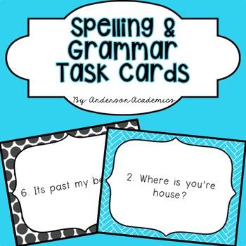Spelling & Grammar Task Cards: Common Spelling/Grammar Errors