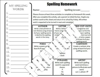Spelling Grid Homework