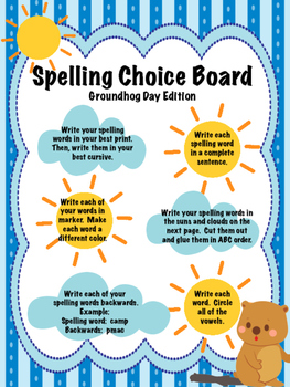 Groundhog Day spelling choice board assessment practice spelling words