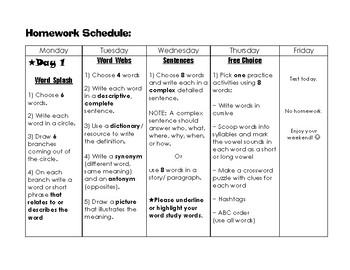 Spelling Homework Schedule