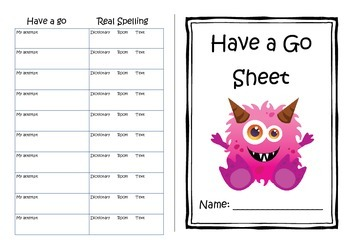 Spelling Have a Go sheet! - Monster Theme