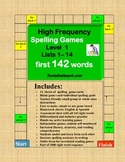 Spelling High Frequency Sight Word  Game Boards Level I