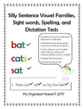 Spelling, Sight Word, Silly Sentence, and Dictation Tests Grades 1 and 2 Preview